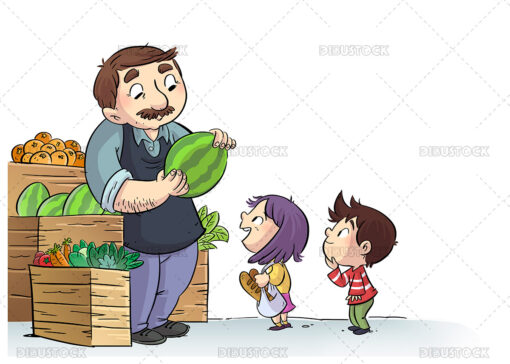 Illustration of kids shopping at the greengrocer