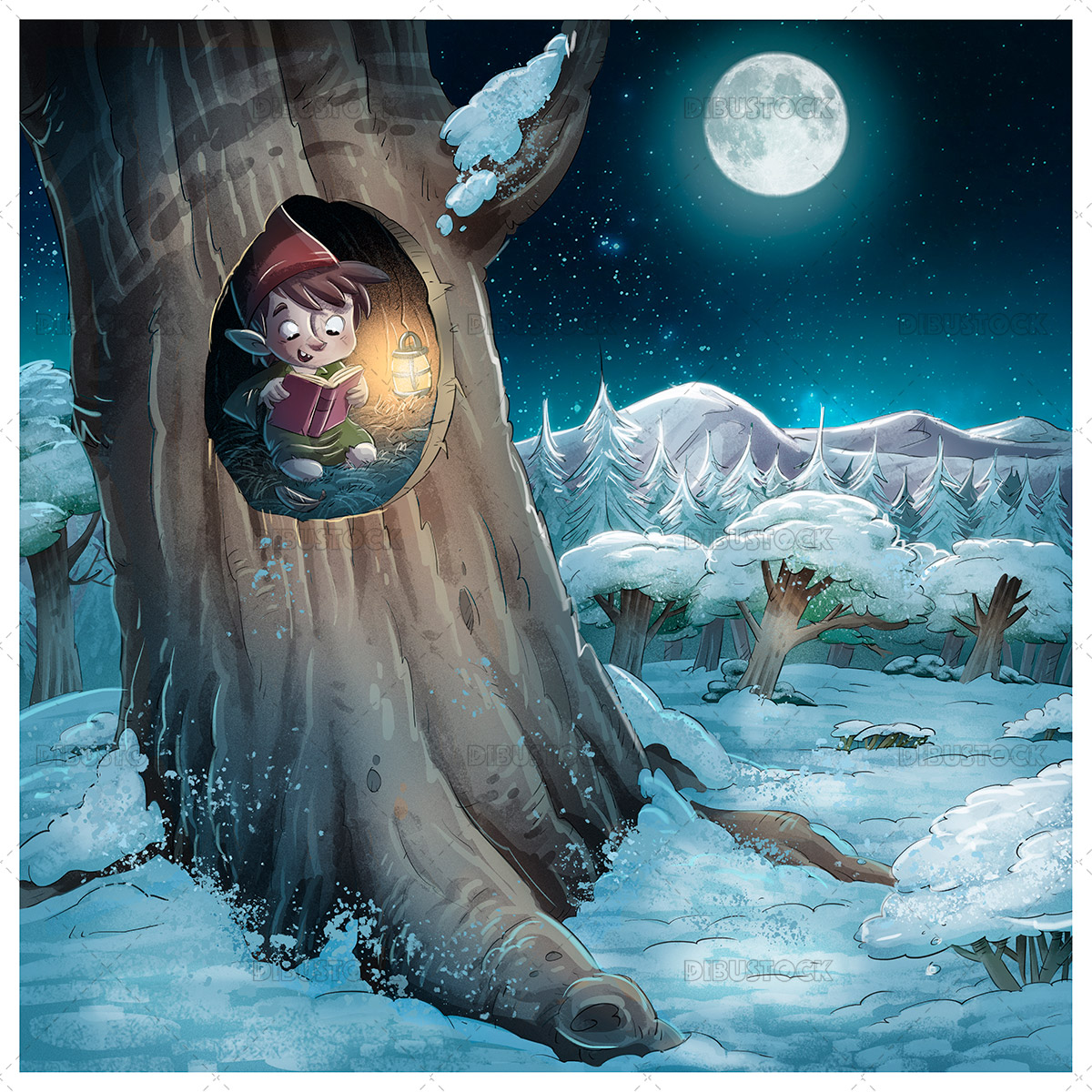 Illustration of leprechaun reading a book inside a tree at night