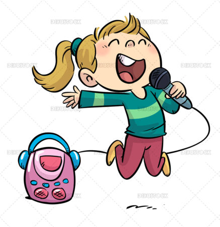 Illustration of little girl jumping and singing with a karaoke