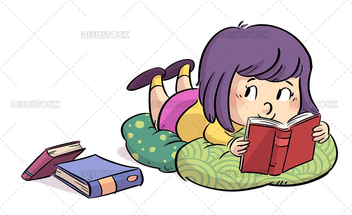 Illustration of little girl lying between cushions reading books