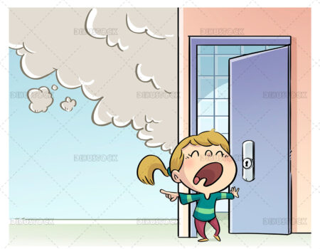 Illustration of little girl screaming in fear because she has seen smoke