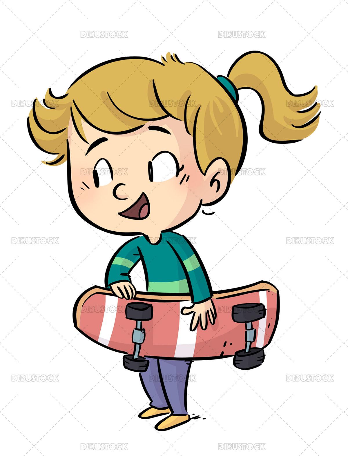 Illustration of little girl with skateboard in hand