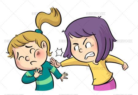 Illustration of little girls fighting