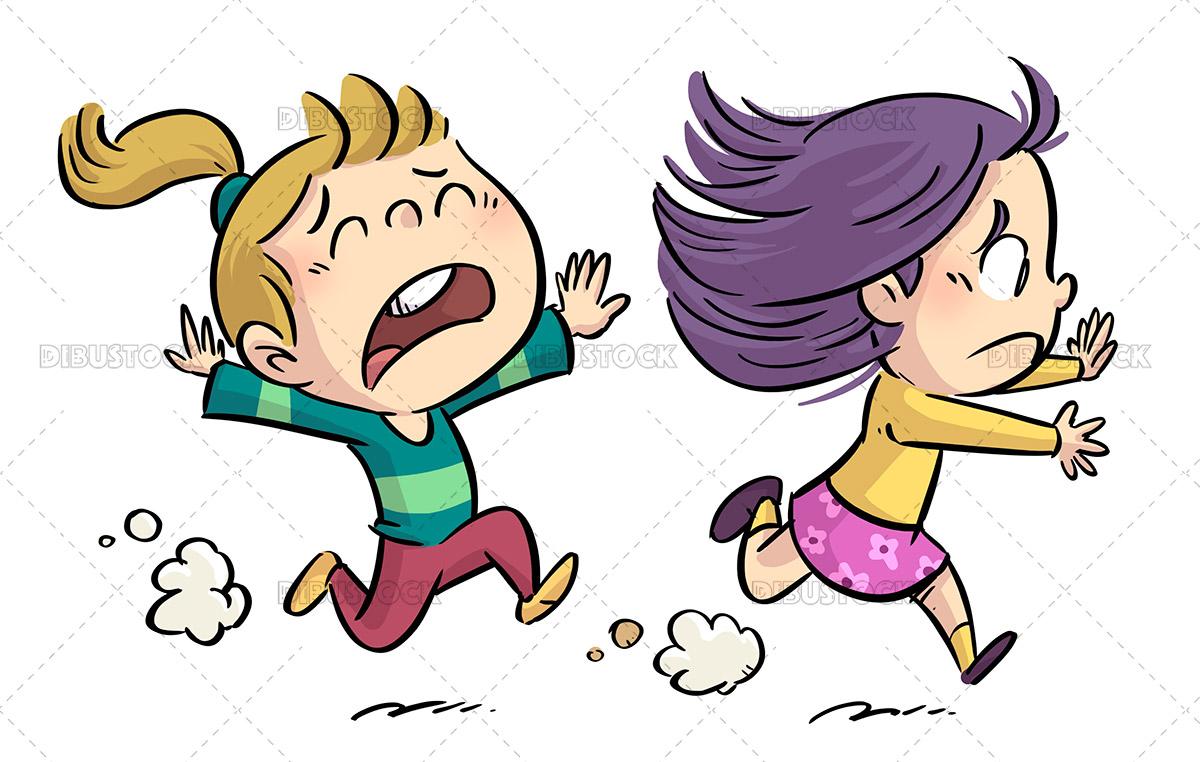 Illustration of little girls running scared