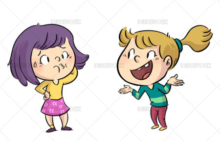 Illustration of little girls talking in a funny way