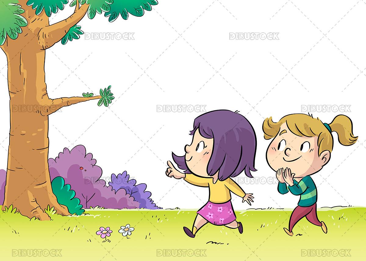 Illustration of little girls walking through the forest