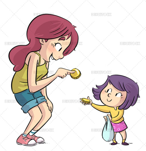 Illustration of mother giving her daughter money to shop