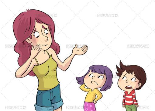 Illustration of mother talking to her children