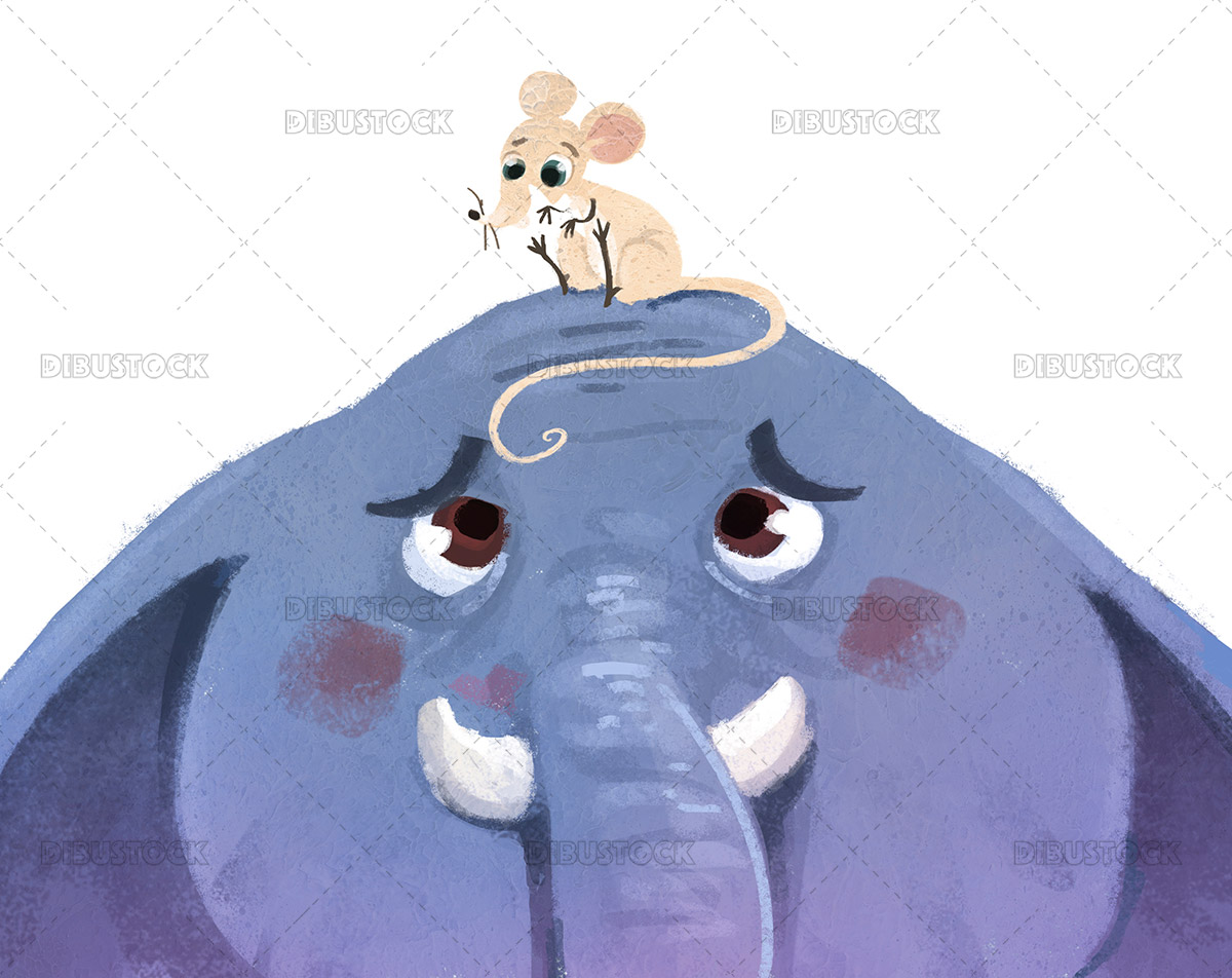 Illustration of mouse with scared elephant