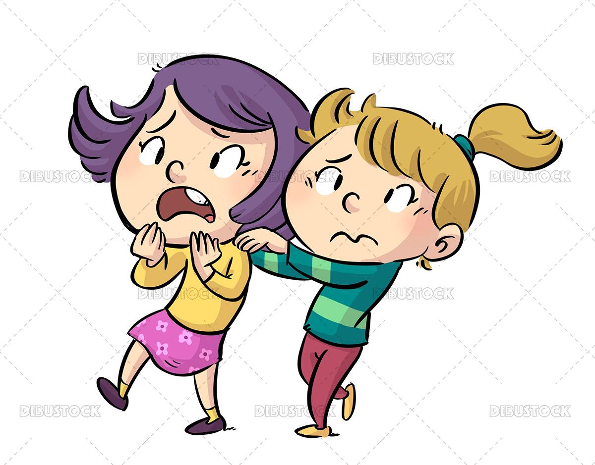 Illustration of scared little girls