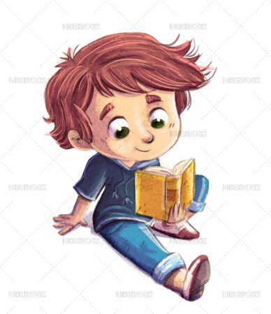 Illustration of sitting child reading relaxed