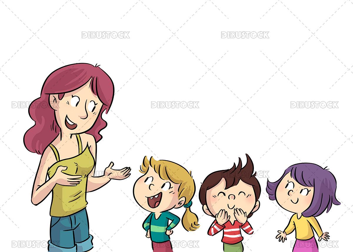Illustration of teacher talking to her children students