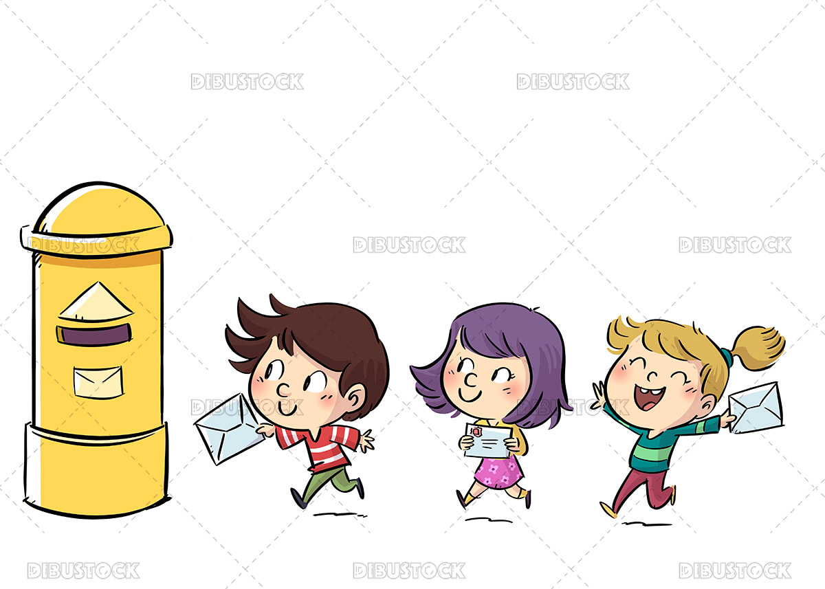 Illustration of three children carrying a letter to the mailbox