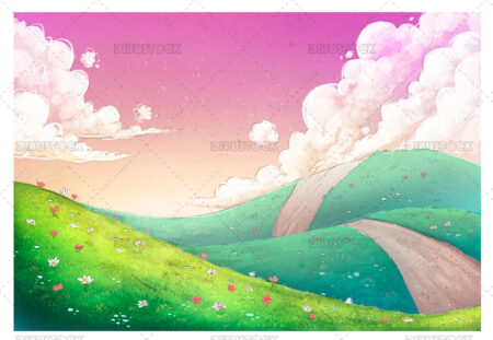 Illustration of valley full of flowers and colors 1